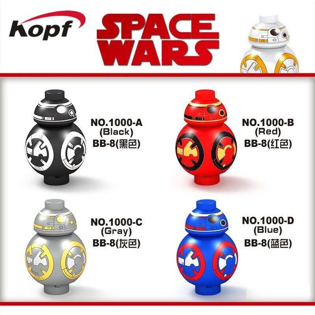 Single Sale Star Wars Mini BB8 BB-8 With Black Red Gray Blue Colour The Force Awaken Building Blocks Children Gift Toys D1000