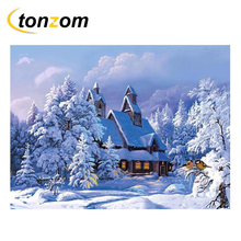RIHE Snowing Cottage Diy Painting By Numbers A World Of Snow And Ice Oil On Canvas Cuadros Decoracion Acrylic Wall