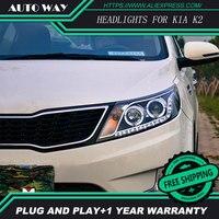 KIA K2 HID LED Headlight Headlamps HID Hernia Lamp Accessory Headlights Case For KIA RIO K2