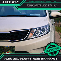 KIA K2 HID LED Headlight Headlamps HID Hernia Lamp Accessory Headlights Case For KIA RIO K2