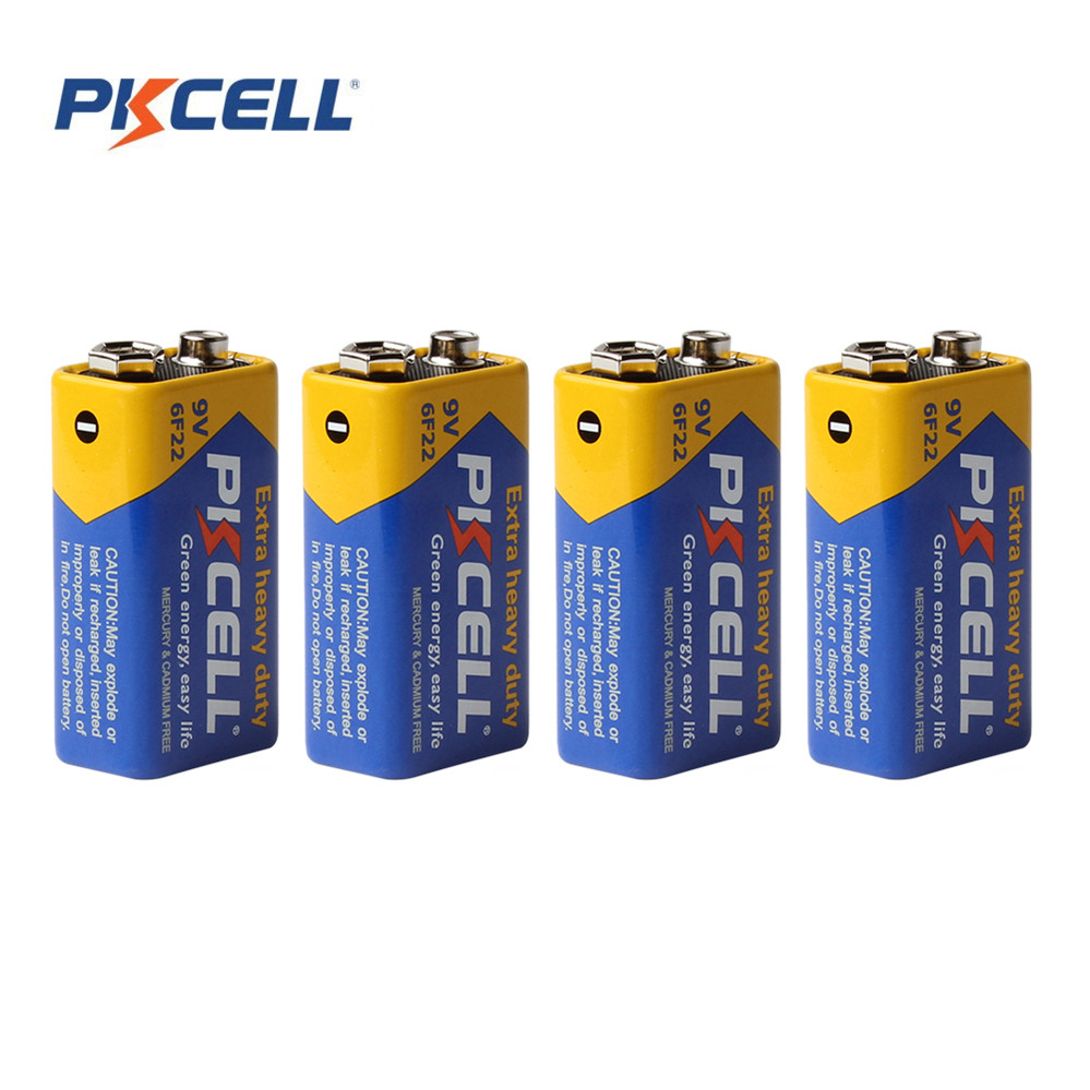 4pcs Pkcell 9V 6F22 Prismatic Batteries Super Heavy Duty Single-use Battery Bateria Dry Zinc Carbon Battery for Remote Control