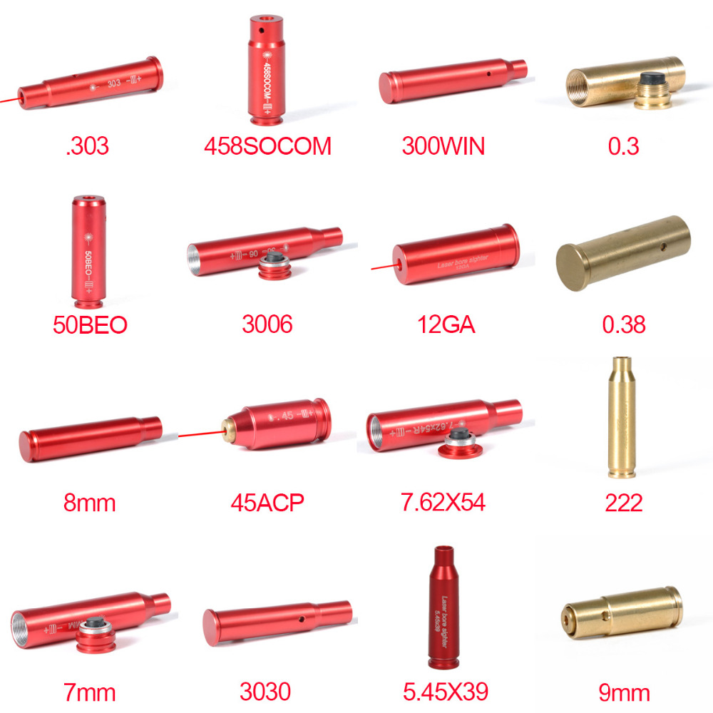 Acessórios táticos greenbase 5.45x39 7.62x39 12ga. 308. 223. 303 7mm calibre vermelho laser furo vista cartucho laser boresighter