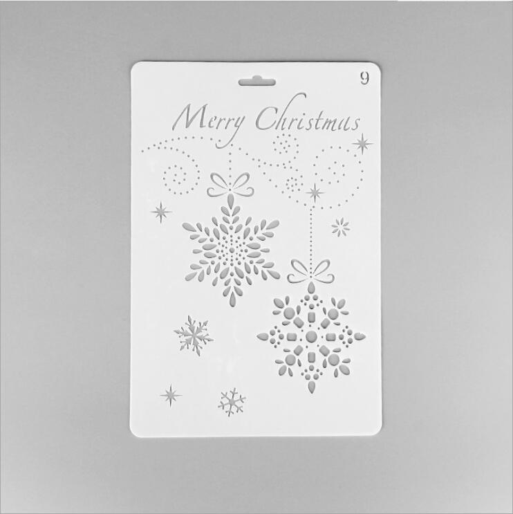 ENO Greeting Merry Christams Stencil Snowflake Plastic Stencil For Scrapbooking Christmas Wall Decoration