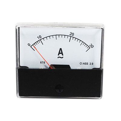 Analog Rectangle Panel AC Current Meter Class 2.0 AC 0-30A Gauge