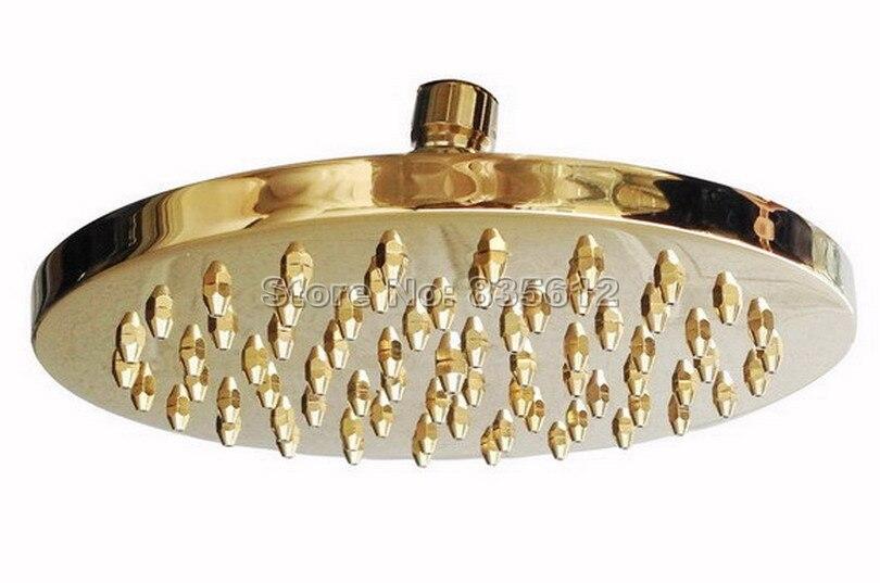 Gold Color Brass Bathroom 8 inch Shower Head Rain Shower Faucet Set + Clawfoot Tub Mixer tap Dual Ceramic Handles Wgf362