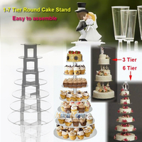 7 Tiers Clear Circle Round Acrylic Cake Food Display Stands Cupcake Party Wedding Birthday Cup Cake Stand Holder