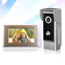 7inch TFT-LCD video door phone golden indoor monitor screen with metal IR COMS outdoor camera for intercom system fast shipping