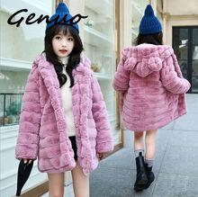 Genuo New Women Elegant Faux Fur Coat Fashion Winter casual Warm Luxury Fake Fur coat fluffy Coats Female Hooded Jacket Overcoat faux shearling hooded coat