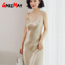 GareMay 2019 Summer Dress Women Party Sexy Midi White Black Red Long V-neck Casual Korean Satin Silk Dresses(China)