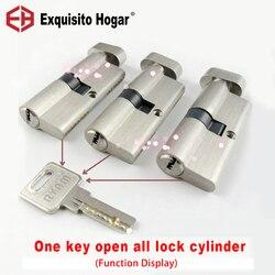 Zarządzanie tym samym kluczem otwórz wszystkie klucze 60 70 75 80 85 90mm Cylinder okucia do drzwi blokady bezpieczeństwa mosiężny Cylinder pojedynczy blokujący w Wkładki do zamków od Majsterkowanie na