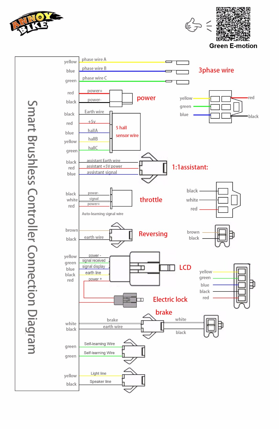 Electric Bike Controller 36v Wiring Diagram Schematic Diagrams Brushless Motor 800w 500w 24v 48v Mofset E Chinese Scooter