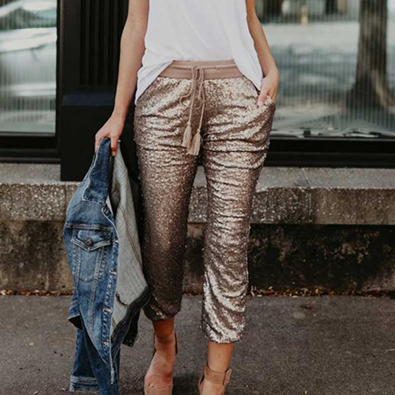 Fashion Pencil pants Sequined Street Hip Hop Skinny women Boho Bohemian