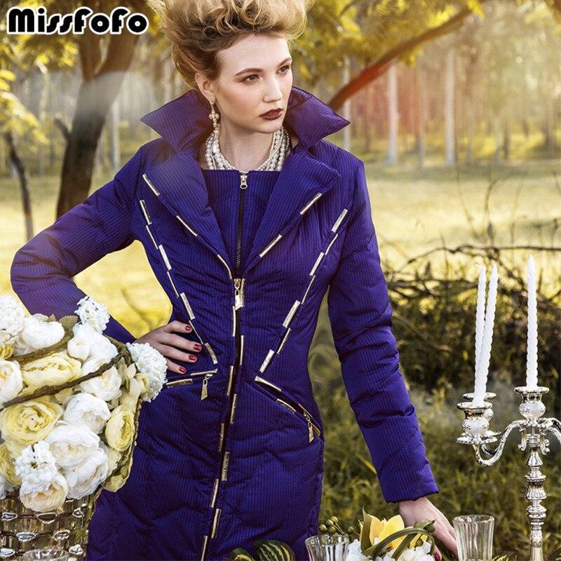 Miss FoFo Brand Womens Down Jackets RoyalCat Coats High Quality Real Raccoon Fur Slim Genuine Overcoat