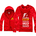 CCCP  Hoodie Men's Casual Soviet Union Lenin Logo Print Cotton Fleece Coat Sweatshirt  Red Black Blue White