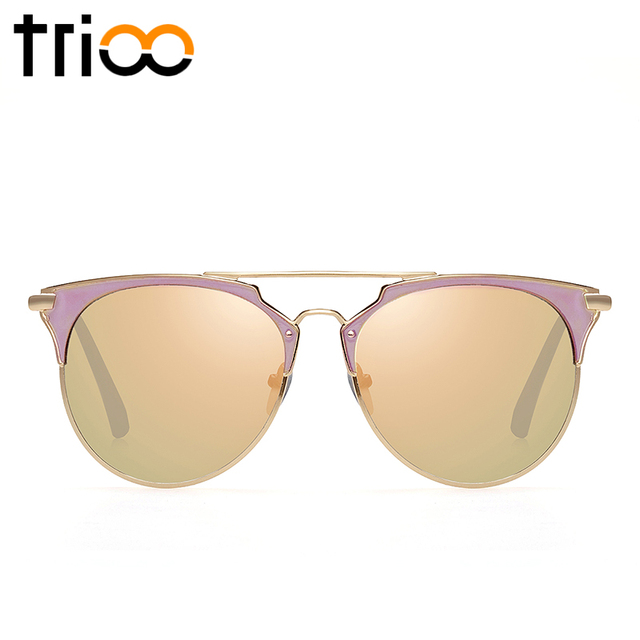 TRIOO Mirror Rose Gold Women Sunglasses Round Luxury Brand Female Sun Glasses For Women