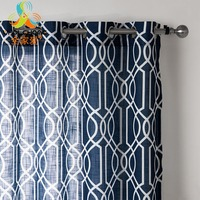 Geometric Design Dark Blue Curtains Tulle Hole Type Curtain Sheers Polyester Linen Fabric Panel Drapes for Living Room 1PCS/Lot