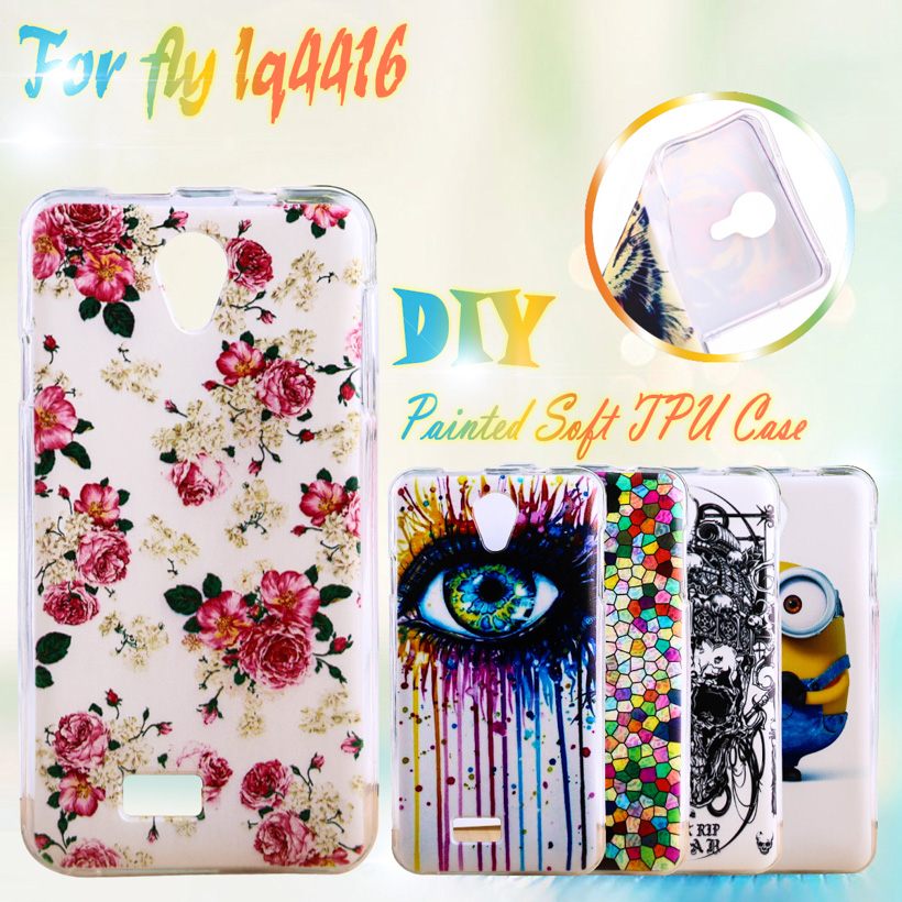 AKABEILA Painted TPU Silicone Cases For Fly IQ4416 Fly quad Era Life 5 IQ 4416 life5 4.5 inch Cases Housing Cover Phone
