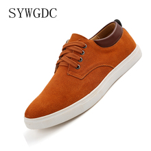 цены SYWGDC 2019 Hot Sale Men Shoes Suede Leather Big Size High Quality Fashion Men's Casual Shoes Mens Shoes Flats Oxfords