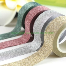 4m Diy Self-adhesive Glitter Washi Paper Tape Sticker Wedding Birthday Festival Decoration Home Decor