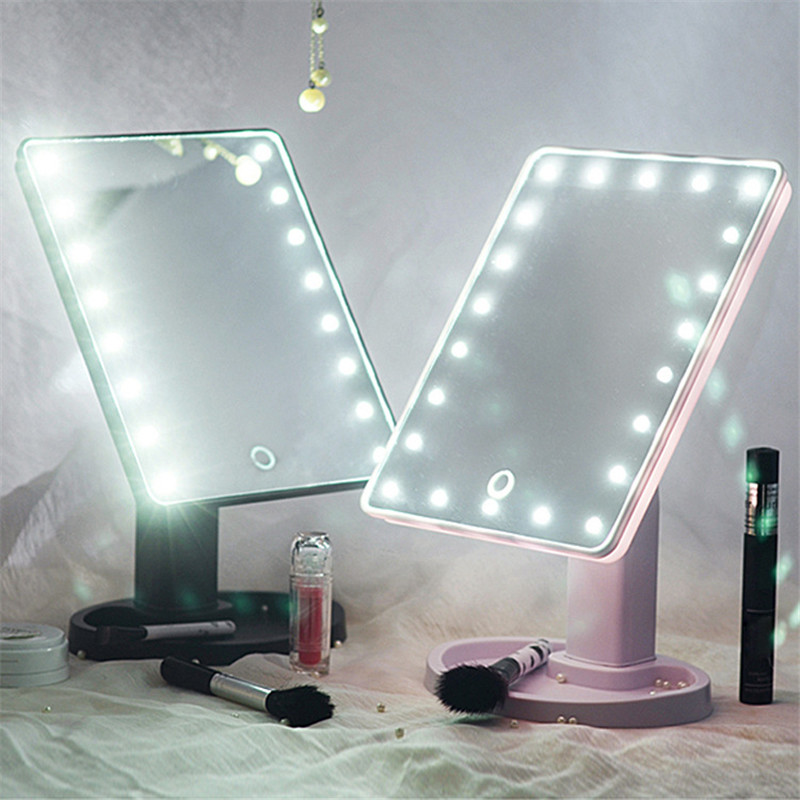 Touch Screen 16 Led Light Mirror Adjule 360 Degree Rotation Makeup Vanity Cosmetic Table Desktop