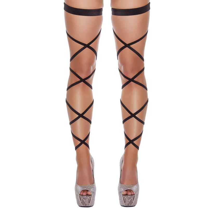 Sexy Lingerie For Women Sexy Thigh High Stockings DIY Bandage Adjustable Hollow Out Gothic Leg Wrap Hosiery Party Sexy Stockings