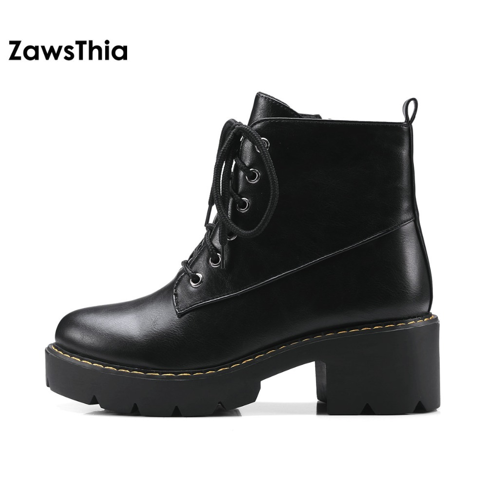 ZawsThia lace up platform square heel woman equestrian ankle boots classic plush martin boots winter shoes for women botas shoes euro style spring autumn women ankle boots platforms square heel ankle boots lace up fashion motorcycle boots martin shoes