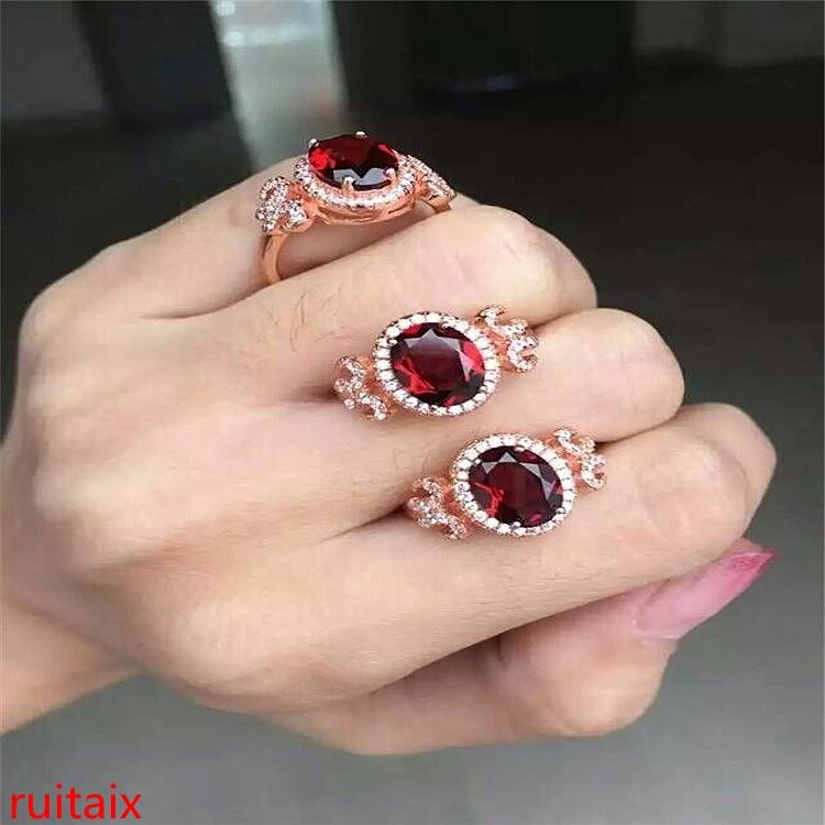KJJEAXCMY bijoux fins 925 argent incrusté cristal naturel gemme grenat femmes anneau de coupe ronde bijoux en argent femme.