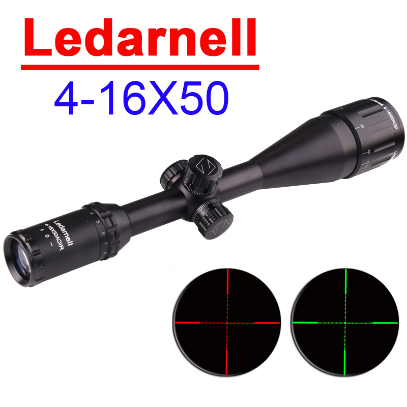 Ledarnell 4-16X50 AOIR Tactical Optical Sight RGB Illuminatied Wire Reticle Rifle Scope Full Size Hunting Riflescope with Rings kandar 4 16x40 aoe mil dot reticle riflescope locking resetting full size hunting rifle scope tactical optical sight