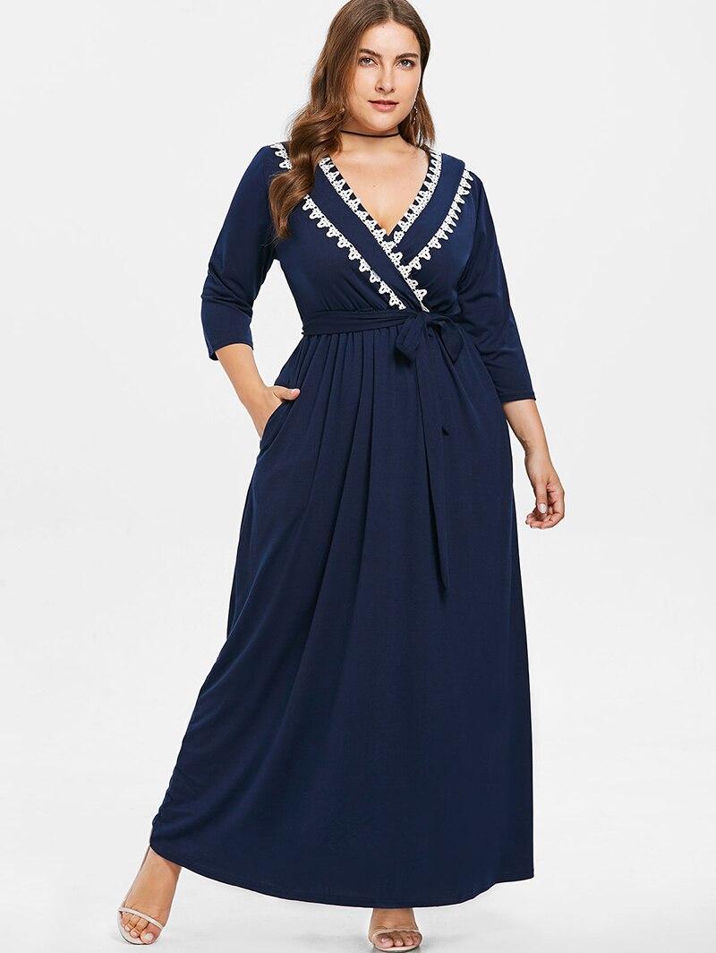 95411f6a0d PlusMiss Plus Size Ethnic Boho Maxi Long Dress with Belt 5XL XXXXL...