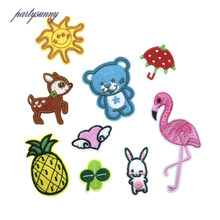 PF Cartoon Stickers for Clothes Patch Children Applique Flamingo Iron on Patches for Clothing Stripes Backpack Accessories RH005(China)