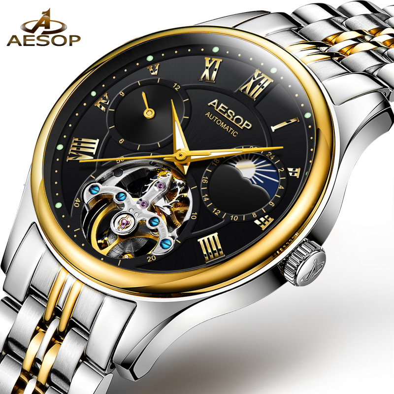 AESOP Brand Fashion Watch Men Automatic Mechanical Wrist Sapphire Crystal Wristwatch Male Clock Relogio Masculino Hodinky New 40 fashion fngeen brand simple gridding texture dial automatic mechanical men business wrist watch calender display clock 6608g