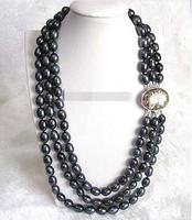 Free Shipping>>new hot 3rows 12mm Baroque black FW pearls necklace Abalone shell clasp E356