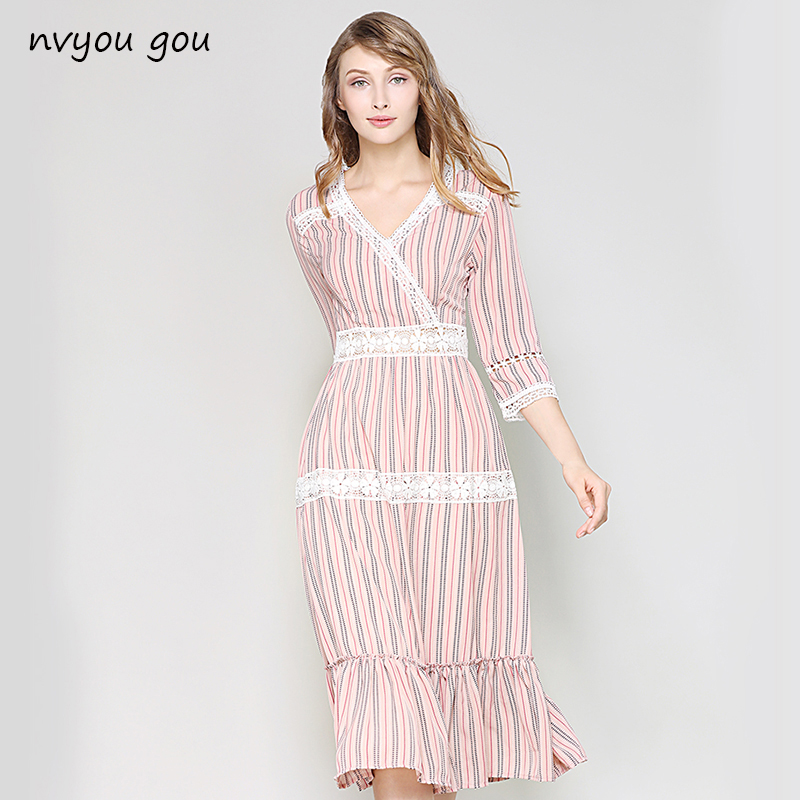 ac8b9dc705c 2018 Summer V Neck Lantern Sleeve Vertical Striped Pink Girl Mid-calf  Dresses Flounce Casual Frill Embellished Swing Dress