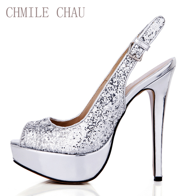 dae8965bdafa CHMILE CHAU Silver Glitter Sexy Party Shoe Women Peep Toe Stiletto High  Heel Slingback Platform Lady Pumps Zapatos Mujer 3463B-v