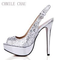 CHMILE CHAU Silver Glitter Sexy Party Shoe Women Peep Toe Stiletto High Heel Slingback Platform Lady Pumps Zapatos Mujer 3463B v