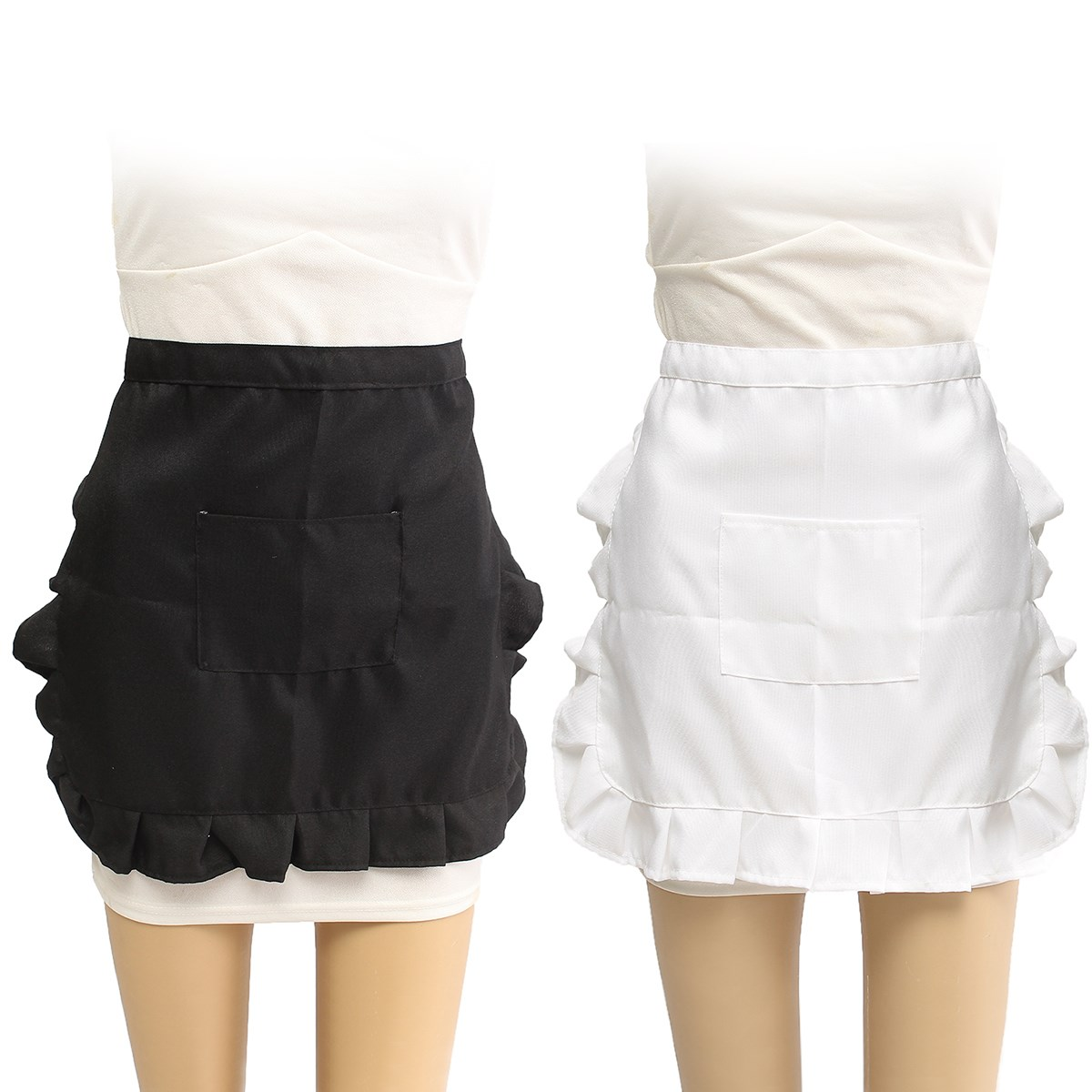 White apron specialty sandwiches - Waist Apron Restaurant Bar Half Body Aprons Waitress Waiter Kitchen Chef Household Cleaning Cooking Apron Tools