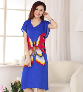 Royal Blue Butterfly Women's Cotton Robe Summer Casual Home Dress Gown V-Neck Nightgown Sleepwear Long Bathrobe One Size WR082(China)