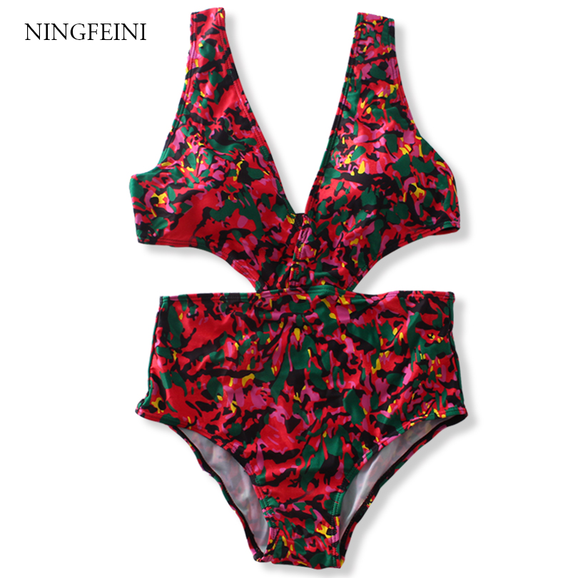 NINGFEINI Women One Piece Swimsuit High Cut Bandage Swimwear Backless Monokini Floral Print Beach Bodysuit V Neck Bathing Suit