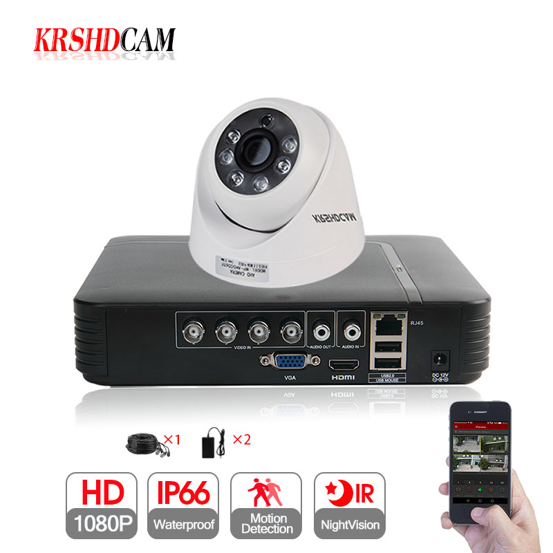 KRSHDCAM 2CH Security CCTV System 1080N 5IN1 AHD DVR 1PCS 1080P CCTV AHD Camera dome home indoor Camera Video Surveillance Kit