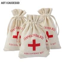 4x 6 Handmade Cotton Drawstring Pouch Hangover Kit Bags Wedding Party Favor Holder Bachelorette Supplies Gift Bag 10pcs