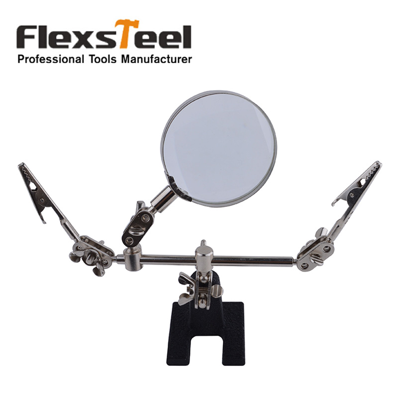 Flexsteel Third Hand Soldering Iron Stand Helping Hand Magnifier Clamp Vise Clip 8X Magnifying Glass Tools Set with original box