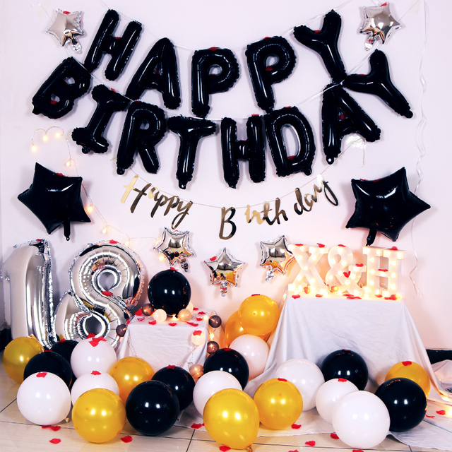 18th Happy Birthday Letter Balloon Black Gold Silver Theme Party Banner Baby Shower Backdrop Decoration