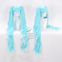 цена на 2019 New Vocaloid Hatsune Miku Cosplay Wig Hair headwear Ice and Snow miku Outfits Halloween Party full wigs