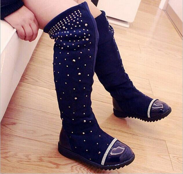 2019 Parent-child Shoes New Princess Rhinestone Girls High Over Knee Boots Leather Children's Long Boots For Kids Fashion Boots