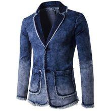 brand Blazer Men Casual Fashion Cotton Vintage Suit Jacket Male Blue Coat Denim Jacket Large Size Jeans Blazers F040