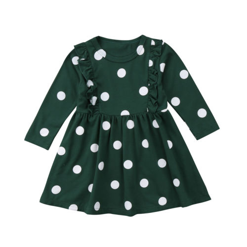 цена на Toddler Kids Baby Girl Clothing Dress Long Sleeve Polka Dot Party Pageant Mini Cotton Tutu Dress Clothes Girls 2-7T