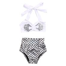 Tankini Biquíni Conjunto da Menina da criança Crianças Verão 2017 Nova Sereia Swimwear Swimsuit Maiô Beachwear