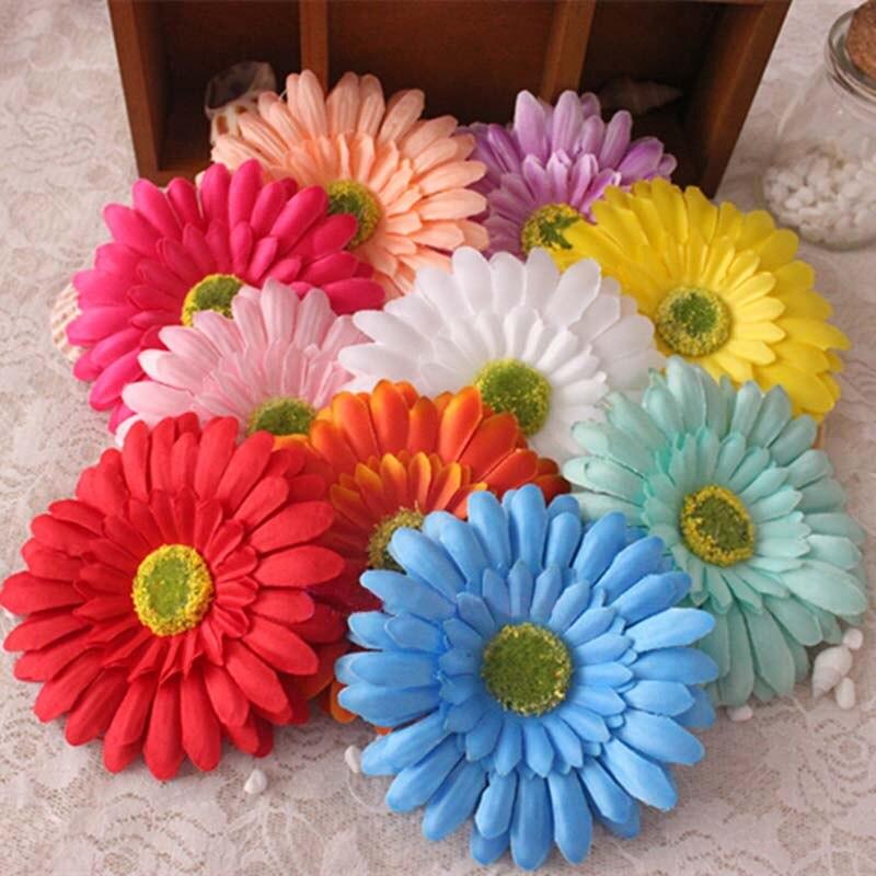 10cm Head,30PCS Artificial Silk Flower Chrysanthemum Fake Sunflowers Heads,DIY Bouquet Accessories,Wedding Decoration For Hair