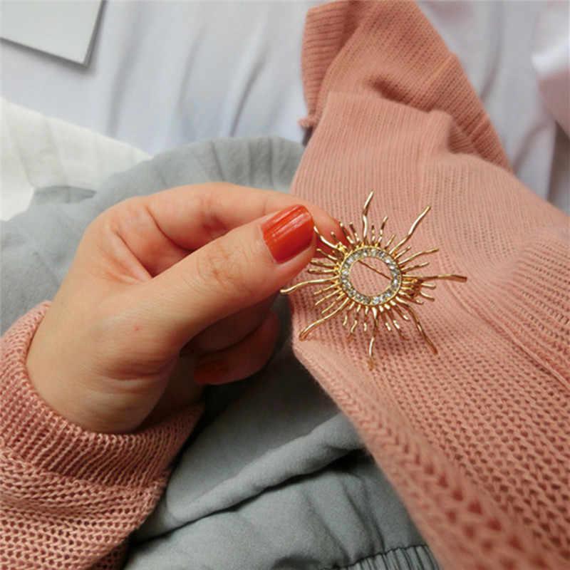 Sun Berbentuk Bros untuk Wanita Femme Syal Klip Pin Keren Weeding Coat Cardigan Baik Brocade Jilbab Pin Syal Gesper Korsase