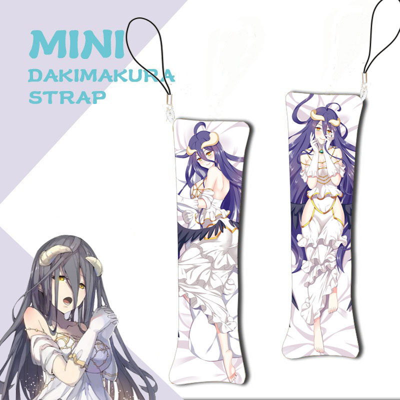 Hot Anime Mini Dakimakura Overlord Albedo Keychain Mini Pillow Hanging Ornament Shalltear Bloodfallen Printed Phone Strap Gifts